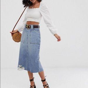 NEW// Free People {Elisa} Denim Pencil Skirt